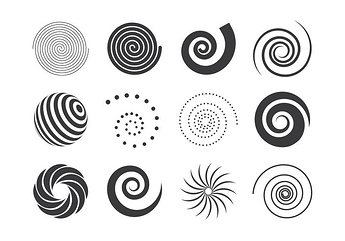 vector-collection-of-black-and-white-spiral-elements